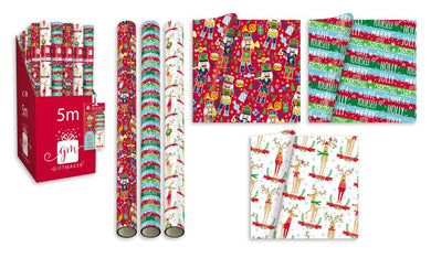 5m Roll of Wrapping Paper - Festive Fun