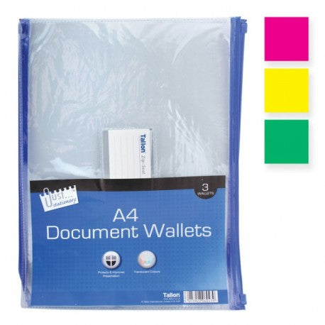 A4 Zip-Seal Document Wallets