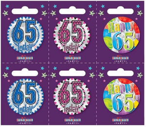 Age 65 Small Badges x6
