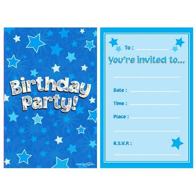 8 Party Invites Blue