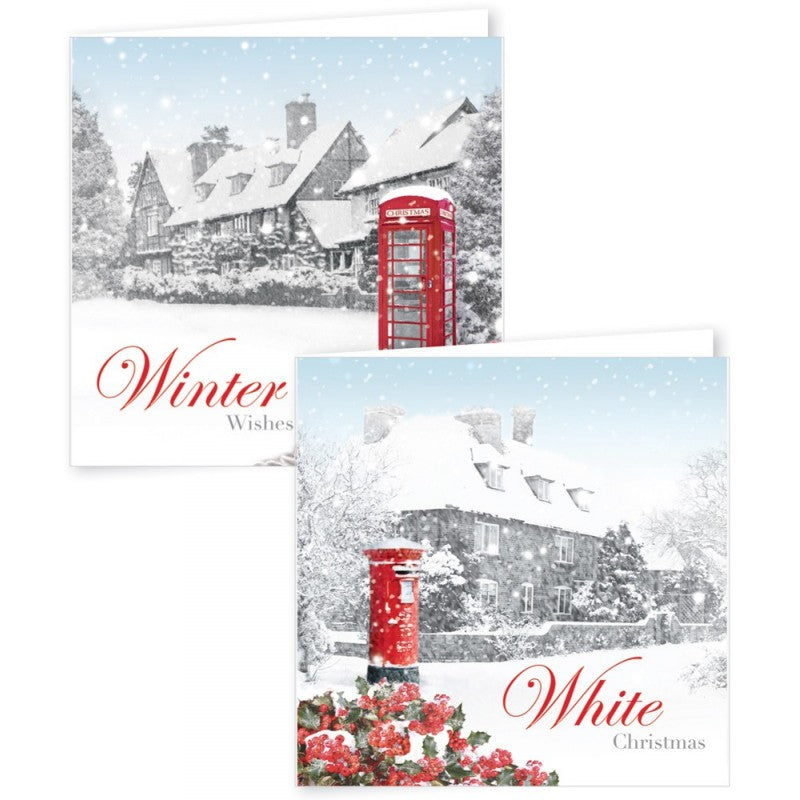 12 Square Christmas Cards Photographic Village Scene