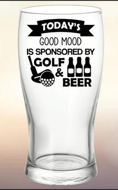 Pint Glass: Sponsored By Golf & Beer