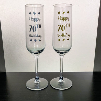 Champagne Flute: Happy 70th Birthday