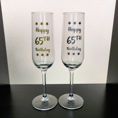 Champagne Flute: Happy 65th Birthday