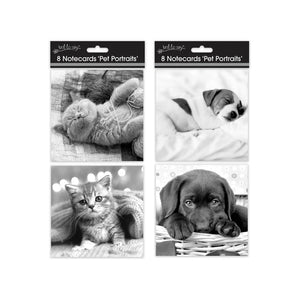 8 Square Notecards: Cats & Dogs