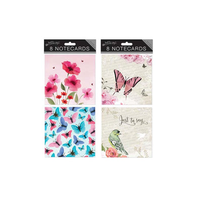8 Square Notecards: Butterflies and Flowers