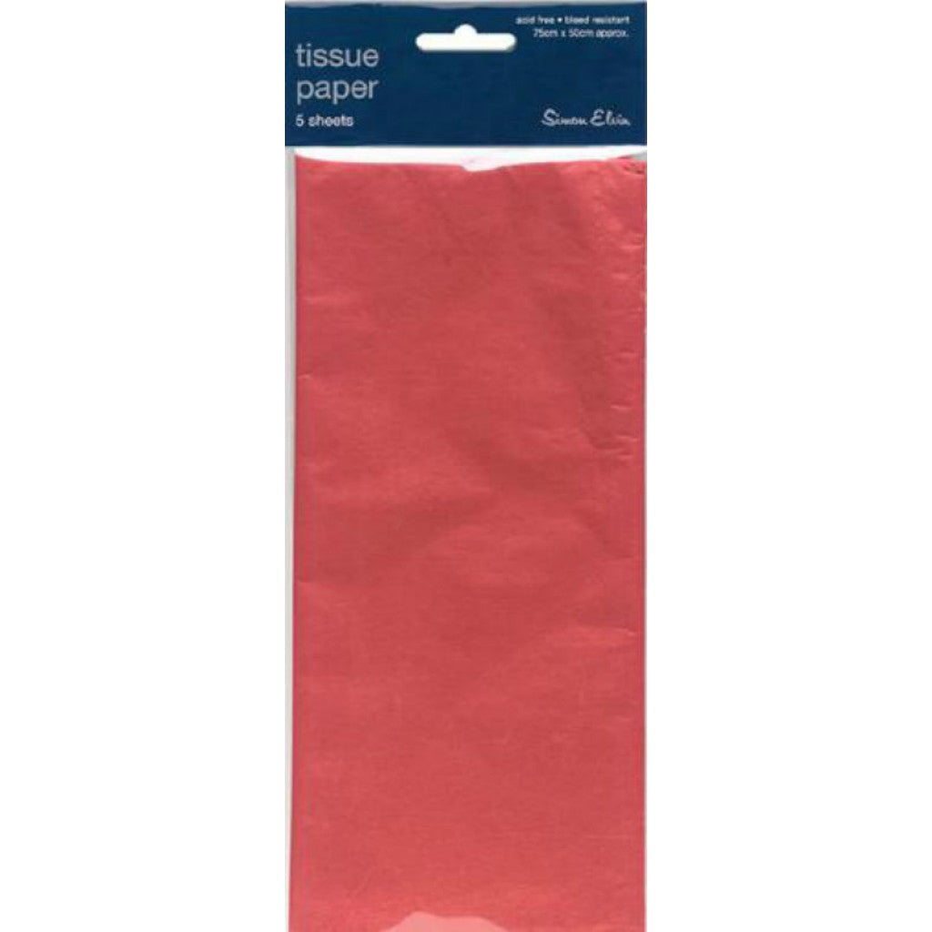 5 Sheets of Red Tissue Paper