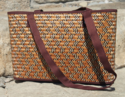 Smoked Bamboo handbag with Flat Cotton Straps - Bee Glorious