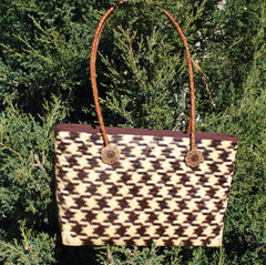 Smoked Bamboo handbag with Rattan handles - Bee Glorious