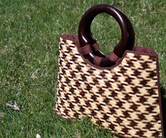 Narrow Mouth Smoked Bamboo handbag - Bee Glorious