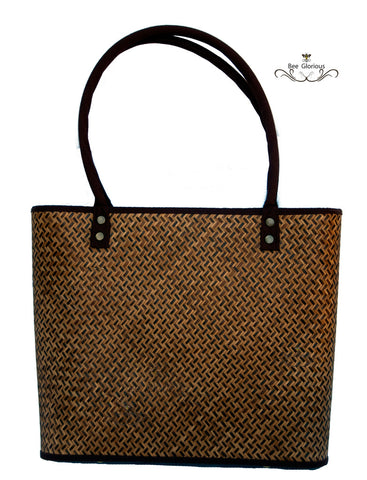 Smoked Bamboo handbag with Round Cotton Straps - Bee Glorious