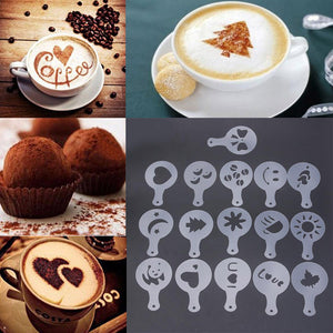 Coffee & Latte Mold Stencils 16 Pack