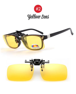 VIVIBEE UV 400 Polarized 1 Pair Clip on Sunglasses for Driving Night Vision Yellow Sun Glasses with Clips Unisex Clips FREE SHIPPING