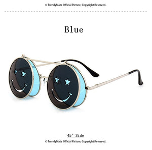 Vintage Round Retro SteamPunk Sunglasses Classic Double Layer Clamshell Design Sun Glasses FREE SHIPPING