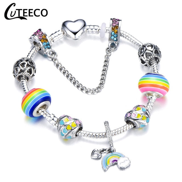 Rainbow of Colors Charms Bracelet Bangle For Women Beads Fit Most Brand Bracelets Jewelry