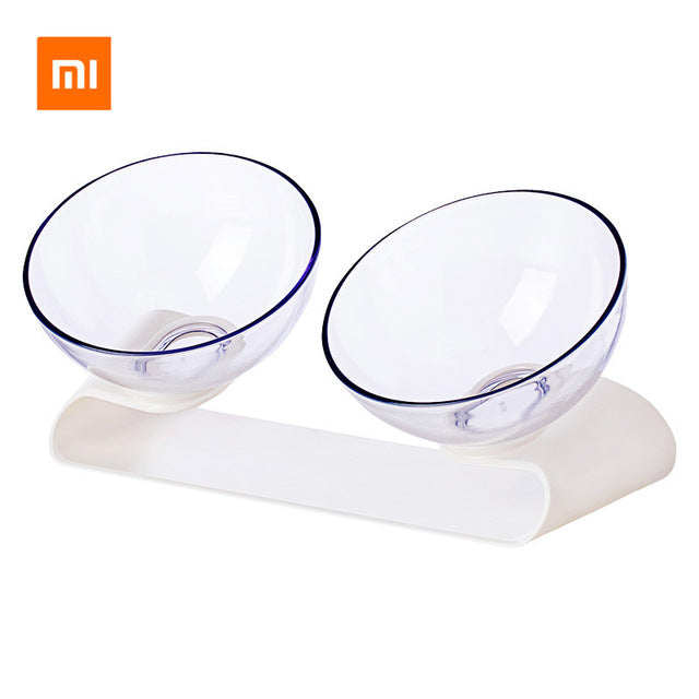 Pet Dog or Cat Double Bowl Transparent Tilt Design Healthy Material FREE SHIPPING