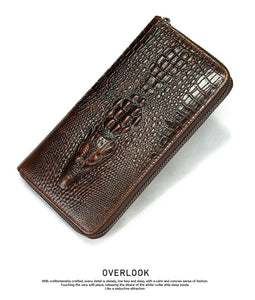 Cowhide Leather Crocodile Pattern Men's Long Wallet Luxury RFID Anti-Theft Credit Card Money Holder Retro FREE SHIPPING