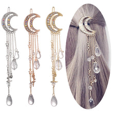 Load image into Gallery viewer, Fashion Elegant Women Lady Moon Rhinestone Crystal Tassel Long Chain Beads Dangle Hairpin Hair Clip Hair Jewelry