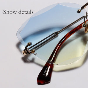Retro Personalized Metal Frame Sun Glasses Progressive Colored Lens UV 400 Cat Eye Borderless Colorful Crystal Texture Sunglasses FREE SHIPPING