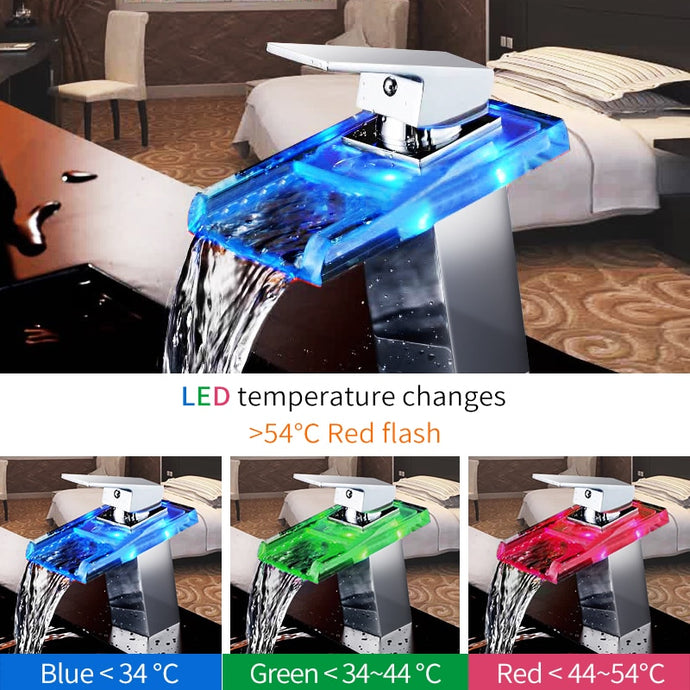 Waterfall Bathroom Faucet with Temperature Changing Color LED Lights