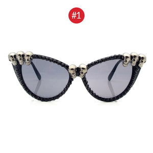 VIVIBEE Women Black Skull Sunglasses 2020 Trend Gorgeous Cat Eye Round Gothic Sun Glasses for Ladies Cat Eye Shades FREE SHIPPING