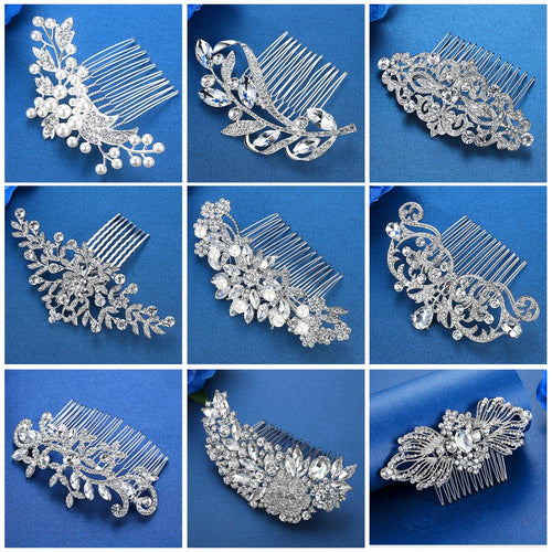 Silver Color Rhinestone Flower Leaf Bridal Hair Comb for Women Girls 12 Styles Crystal Hair Ornaments Party Prom Wedding Jewelry Hair Accessories FREE SHIPPING