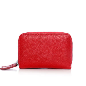 Genuine Leather Assorted Colors Women's Card Holder Double Zipper Large Capacity ID Credit Card Case Bag Wallet FREE SHIPPING