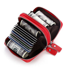 Load image into Gallery viewer, Genuine Leather Assorted Colors Women's Card Holder Double Zipper Large Capacity ID Credit Card Case Bag Wallet FREE SHIPPING