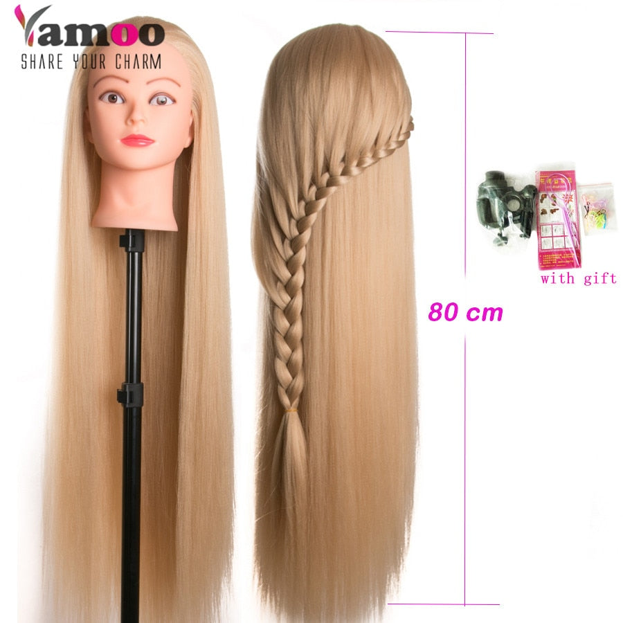 Hairdresser Head Dolls for Hairdressers 80cm Synthetic Hair Mannequin Head Hairstyles Female Mannequin Hairdressing Styling Training Head FREE SHIPPING