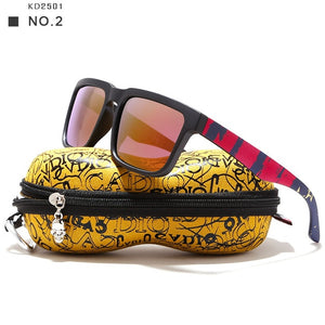 Eye-Catching Function Polarized Sunglasses For Men Matte Black Frame Painting Temples Play-Cool Sun Glasses With Case