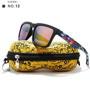Eye-Catching Function Polarized Sunglasses For Men Matte Black Frame. Painting Temples Play-Cool Sun Glasses With Case