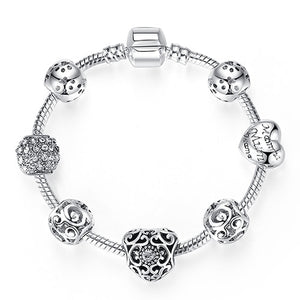 Fashion Women Bracelet Silver Crystal Bead Charm Bracelet Assorted Colors For Women Jewelry Original Bracelets Gift