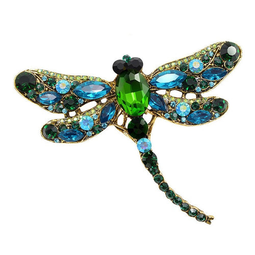 Crystal Vintage Dragonfly Brooches for Women Large Insect Brooch Pin Fashion Dress Coat Accessories Cute Jewelry
