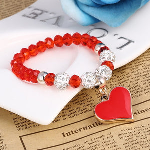 Romantic Vintage Bracelets For Women Red Heart Pendant Bracelets with 4 Bling Crystal Beads Fit Pan Bracelets Jewelry FREE SHIPPING