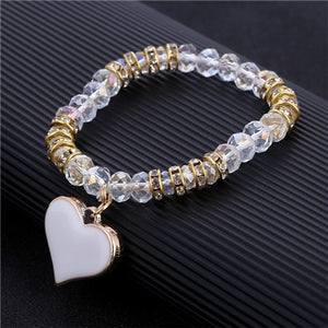 Romantic Vintage Bracelets For Women White Heart Pendant Bracelets with 16 Bling Crystal Beads Fit Pan Bracelets Jewelry FREE SHIPPING