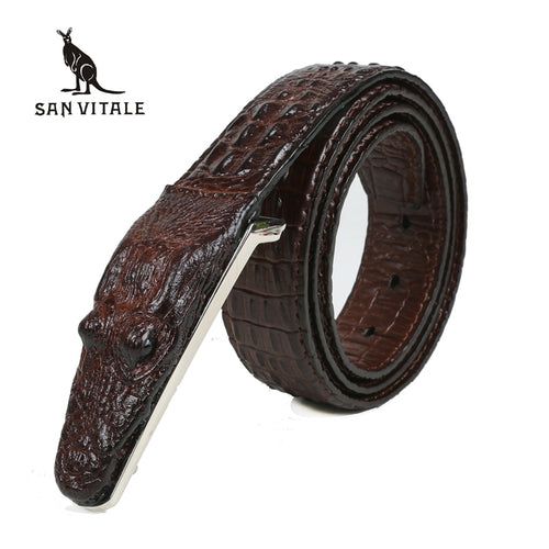 Men's 3D Faux Crocodile Famous Luxury Brand Designer Leather Belt Smooth Buckle Choose Size FREE SHIPPING