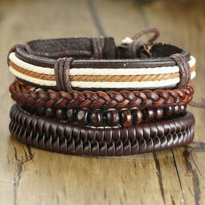 Mix 4Pcs/ Set Braided Wrap Leather Bracelets for Men Women Vintage Wooden Beads Ethnic Tribal Wristbands Bracelet Rudder