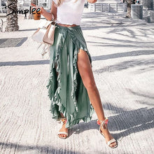 Load image into Gallery viewer, Womens Sexy Ruffles High Waist Baggy Split Pants Ladies Wide Leg Pants FREE SHIPPING