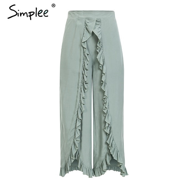 Womens Sexy Ruffles High Waist Baggy Split Pants Ladies Wide Leg Pants FREE SHIPPING
