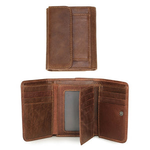 RFID Wallet Antitheft Scanning Leather Wallet Hasp Leisure Men's Slim Leather Mini Wallet Case Credit Card Trifold