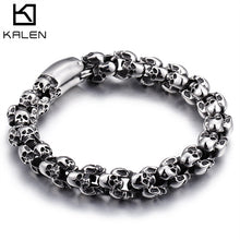 Load image into Gallery viewer, Punk 22.5cm Long Skull Bracelets For Men Stainless Steel Shiny Skull Charm Link Chain Bracelets Male Gothic Jewelry