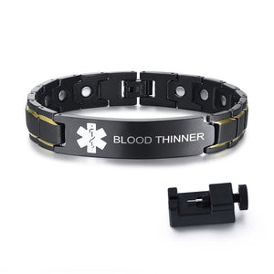 Medical Alert ID Bracelets BLOOD THINNER Mens Bracelets Black Stainless Steel with Magnets Pain Relief Energy Emergency Reminder Personalized Jewelry FREE SHIPPING