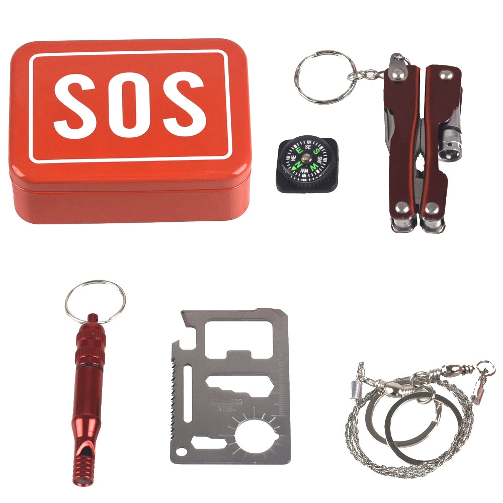 Outdoor Emergency Camping Equipment Box Survival Kit Box Self-Help Box SOS  for Camping Hiking Saw Whistle Compass Tools