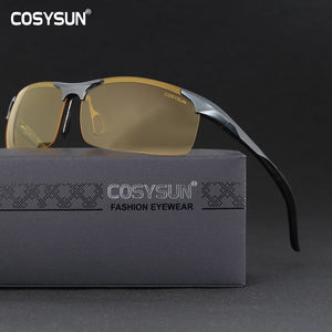 Men Women Aluminium Alloy Night Vision SILVER LEGS Goggles Safe Driving Polarized Sunglasses Car Drivers Glasses Night Sunglasses FREE SHIPPING