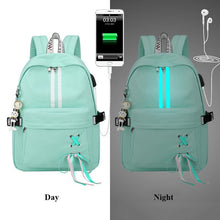 Load image into Gallery viewer, Fashion Anti Theft Reflective Waterproof Women GREEN Backpack USB Charge School Bags For Girls Travel Laptop Rucksack Bookbags FREE SHIPPING