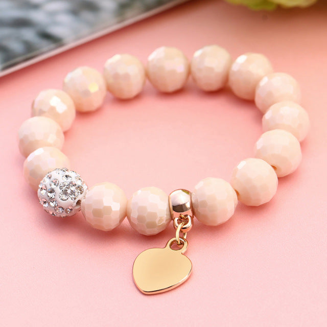 Romantic Vintage Bracelets For Women Heart Pendant and Crystal Bead Accent Bracelets Beads Fit Pan Bracelets Jewelry FREE SHIPPING