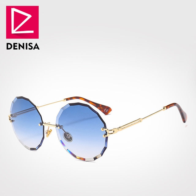 DENISA Vintage Round Sunglasses Women or Men Fashion Rimless Glasses Retro BLUE Sun Glasses Women UV400 FREE SHIPPING