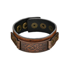 Load image into Gallery viewer, Vintage Steampunk Leather Bracelet Men Genuine Leather Wrap Bracelets Bangles for Men Punk Style Mens Bracelets Accessories