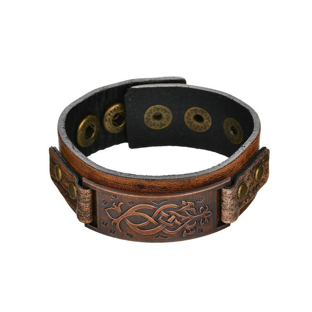 Vintage Steampunk Leather Bracelet Men Genuine Leather Wrap Bracelets Bangles for Men Punk Style Mens Bracelets Accessories