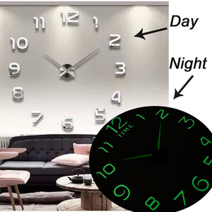 Luminous Wall Clocks Large Clock watch Horloge 3D DIY Acrylic Mirror Stickers